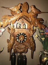 LARGE BEAUTIFUL GERMAN CARVED BIRDS 8 DAY MUSICAL CUCKOO CLOCK WITH DANCERS