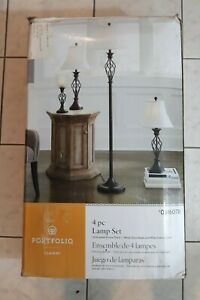 Oil Rubbed Bronze Lamp Set Of 4 Off White Bell Shaped Lamp Shade Table Floor
