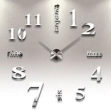 Large Wall Clock Modern 3D Acrylic Mirror Sticker Big Number Watch DIY Art Decor