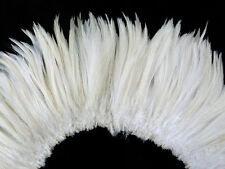 "4 Inch Strip - 6-7"" Natural White Strung Rooster Neck Hackle Feathers"