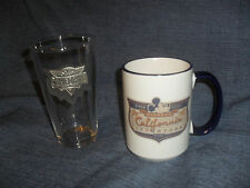 DISNEY CALIFORNIA ADVENTURE MICKEY LOGO RETRO COFFEE MUG & GLASS W/ PEWTER LOGO