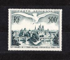 timbre france poste aérienne  500f oiseau sur  Paris  num:  20   **