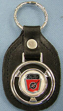 Vintage White FORD Lightning Bolt Steering Wheel Black Leather Keyring Key Fob