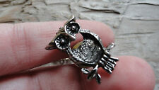 Owl tie tack rhodium silver color 8x10mm with back (pkg 3) 2558