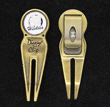 Divvy Clip Divot Repair Tool (Color - Satin Brass) & UCONN Ball Marker