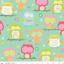 By 1/2 Yard Riley Blake Fabric Owl & Co. Owl Main Teal ~ Cute owls children's