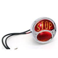 Stainless Motorcycle STOP Round Tail Rear Light 12V for Chopper Bobber Chrome