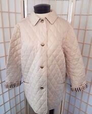 Authentic Burberry Women's Quilted Jacket Medium Plaid Lined Coat NO RESERVE