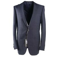 NWT $2295 CANALI Slate Blue Wool and Silk Suit with Peak Lapels 38 L (Eu 48)