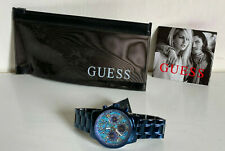 NEW! GUESS ICONIC INDIGO BLUE PYTHON PRINT MULTI-FUNCTION WATCH $150 SALE