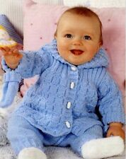 Baby CHILDREN Hooded Jacket Trousers Mitts Knitting Pattern Copy 8 Ply