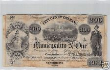 USA LOUISIANE BON MUNICIPAL 200 DOLLARS 30.10.1837