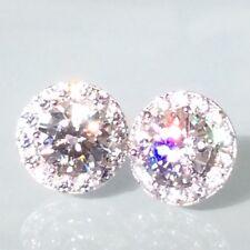 Stud Earrings: Real 925 Silver Simulated Diamond Removable Halo Jacket Earrings