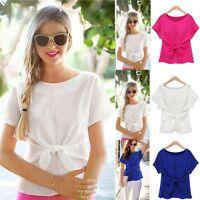 Fashion Women Summer Bowknot Loose Chiffon Tops Short Sleeve Shirt Casual Blouse
