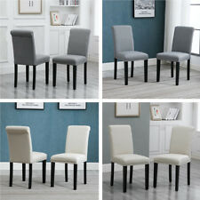 4x High Back Grey Upholstered Fabric W/ Rivets Dining Chairs Wood Leg Diningroom