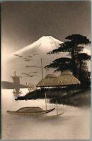 Antique Vintage Hand Painted Japanese Art Postcard Japan Black Lacquer, Gold /5