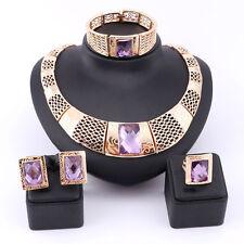 Woman Purple Gem Crystal Bridal Gift Nigerian Wedding African Beads Jewelry Set
