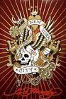 Ed Hardy New York City Skull 36x24 Tattoo Art Print Poster Roses Snakes Hidden