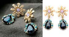 E653 Betsey Johnson Blue Gemstone Flower Rhinestone Wedding Bridal Earrings UK
