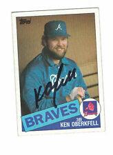 * 1985 Topps Ken Oberkfell Atlanta Braves Authentic Autograph COA