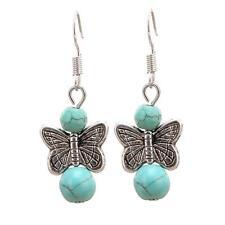Antique Silver Turquoise Ball Drop Earrings Dangle Earrings Butterfly Charm