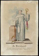 santino incisione 1800 S.BERNARDO DI CLAIRVAUX dip. a mano