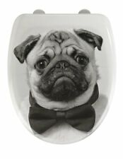 Wenko Pug Print White Toilet Seat Soft Close
