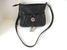 Crossbody Handbag Makowsky Black Pebble Leather Silver Hardware Zip Top Purse