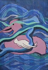 Vintage abstract gouache painting bird seascape
