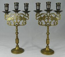 "2  Antique Brass LION CANDELABRAS Candle Holders Judaica NY Brass 11.25"" Sabbath"
