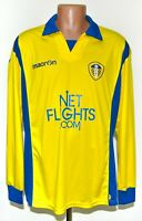 LEEDS UNITED 2009/2010 AWAY FOOTBALL SHIRT JERSEY MACRON SIZE L LONG SLEEVES