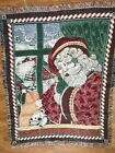 """Vintage Goodwin Weaver Santa Christmas Tapestry Throw Blanket  60' x 48"""" Fringe"""