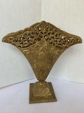 Brass Vase Vintage Filigree Hollywood Regency Flat Floral Pineapple Ribbon