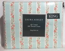 New Laura Ashley Melrose Mint Green Roses Stripe Floral King Sheet Set pillowcas