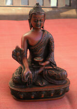 """Medicine Buddha Statue from Nepal for Dharma 5"""" Height Brown Resin"""