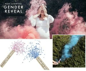 BABY SHOWER GENDER REVEAL SMOKE & CONFETTI CANNONS PINK BLUE AIR COMPRESSED