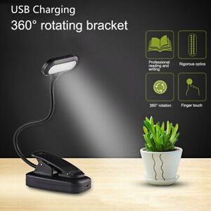 360° Flexible USB Clip-On LED Light Reading Study Desk Table Lamp Rechargeable