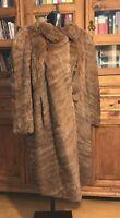 Vintage Genuine Real Fur Coat/Jacket Ladies Long Length Brown Stunning
