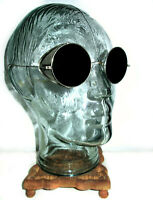 Antique Smoky Shield Sunglasses Goggles Cool Old Vtg Steampunk Safety Glasses