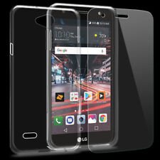 2in1 Tempered Glass Screen Protector Flexible Skin Shell Case f LG X Charge M322