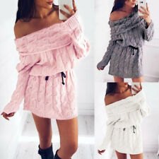 Womens Off Shoulder Chunky Knitted Mini Dress Long Sleeve Jumper Sweater Dresses