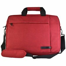Messenger Canvas Laptop Computer Case Bag Fits up to 15.6 inch Computer (Red)