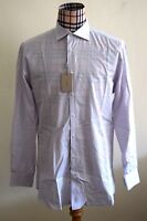 BRIONI Mens LAVENDER CHECK Fitted Italian Fit Small DRESS SHIRT 17.5