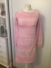 Lands End Ladies Pink & White Long Sleeve Crew Neck Jumper Dress Size 12