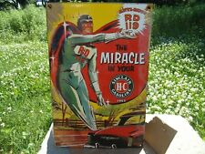 OLD VINTAGE 1952 SINCLAIR H-C GASOLINE PORCELAIN GAS AD PUMP SIGN SUPER HERO