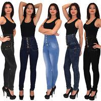 Womens Jeans Skinny Trousers Tube Ladies Pants Tall Cut High Waist J11 UK