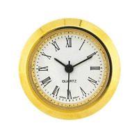 New Mini Quartz Clock Movement Insert, Roman Numerals 40 mm Ø Bezel Gold