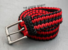 Paracord Survival Belt - Black and Red with Matte Nickle Buckle - S M L XL