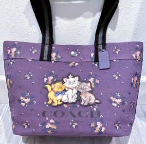 COACH X DISNEY ARISTOCATS PLUM PURPLE LAVENDER TOTE Bag Purse ROSE BOUQUET Print