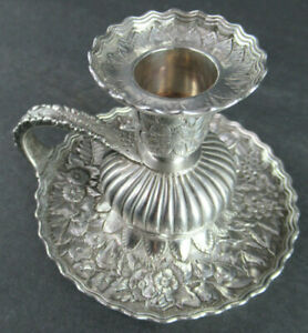 ANTIQUE TIFFANY & CO STERLING SILVER REPOUSE CHAMBER CANDLESTICK HOLDER #6783